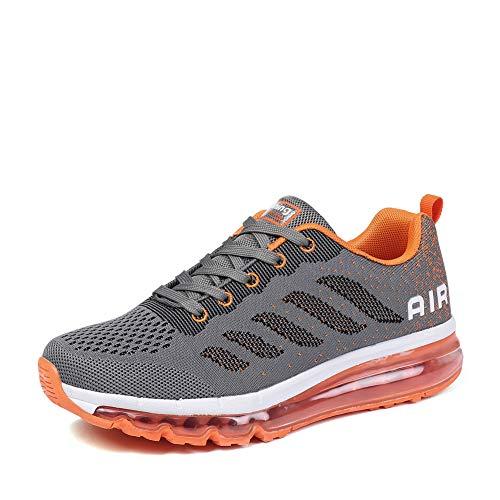 Homme Femme Air Running Baskets Chaussures Outdoor Gym Fitness Sport Sneakers Respirante Grey Orange 36