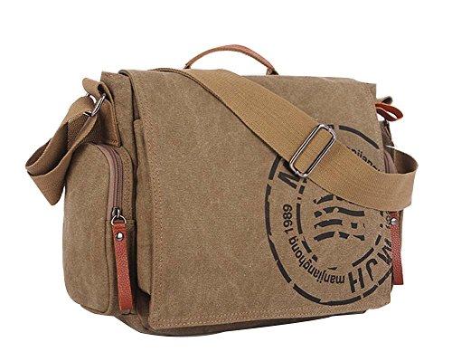 Ecokaki Bolso bandolera de lona multifuncional para la escuela, bolso de trabajo, bolso de viaje informal para mujeres y hombres