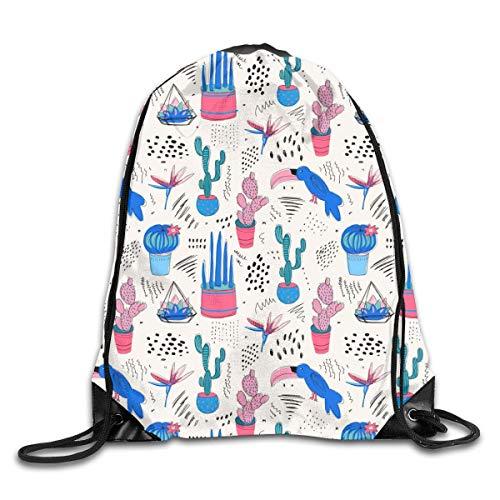 shenguang Tropical Abstract Cactus Mochila Deportiva con cordón Gimnasio Yoga Sackpack String Bag Travel Storage Sack para Mujeres y Hombres Adecuado para la Escuela Natación Correr Playa al Aire
