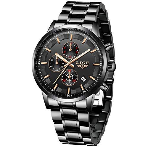 LIGE Herren Uhren Schwarz Edelstahl Wasserdicht Männer Armbanduhr Elegant Analog Quarz Luxus Herrenuhr Sport Militär Chronograph Kalender