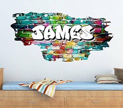 the grafix studio Personalised Graffiti Brick & Name Wall art Sticker 95cm (w) x 46cm (h),TR45
