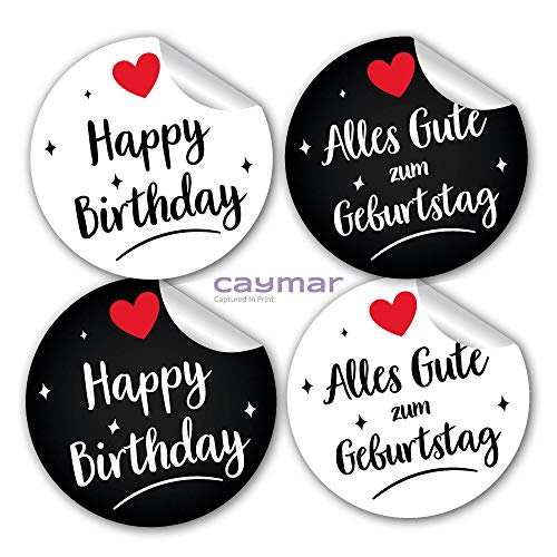 24 Happy Birthday und Alles Gute zum Geburtstag Aufkleber Sticker aus Papier in rund weiß schwarz mit Herz für Geschenk Glückwunsch Kinder Erwachsene