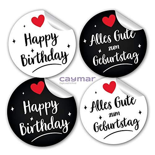 Happy Birthday Alles Gute zum Geburtstag Aufkleber Sticker rund weiß schwarz Geschenk mit Herz Caymar - Captured In Print®