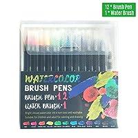 Tickas 12鮮やかな水彩ブラシペンソフトフレキシブルブラシのヒントアーティストペイントマーカー水溶性インク補充可能な水大人の子供向けのブレンドブラシ絵画描画塗り絵