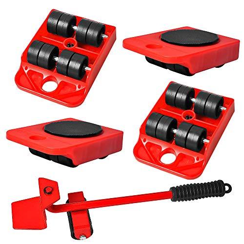 qipuneky 5 Pièces, Outil de Déplacement de Meubles, Roulettes pour Meubles, Deplace Meuble,Coussin Rotatif à 360 Degrés pour Lensemble de Rouleaux Mobiles de Meubles (rouge)