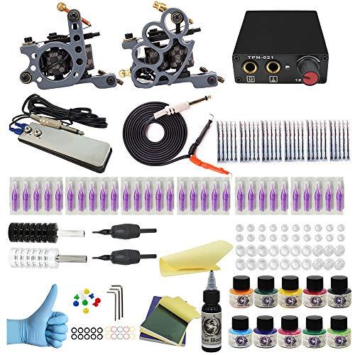 Wormhole Tattoo Complete Tattoo Kit for Beginners Tattoo Power Supply Kit 10 Tattoo Inks 30 Tattoo Needles 2 Pro Tattoo Machine Kit Tattoo Supplies SL-TK034
