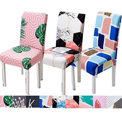 Color Fundas Para De Sillas Ajustable Pack 6.4.2 Piezas, Elásticas Cubierta De Silla De Comedor De Color Para La Cubierta De Asiento De Cocina Extraíble, Lavable 9-6PCS