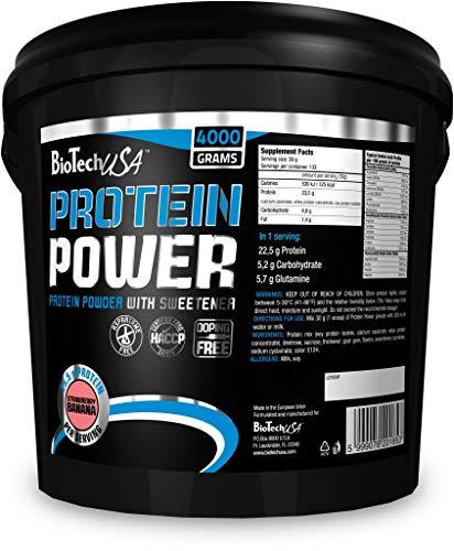 BioTechUSA Protein power Mezcla de Proteínas, Sabor Fresa-Plátano - 4000 gr