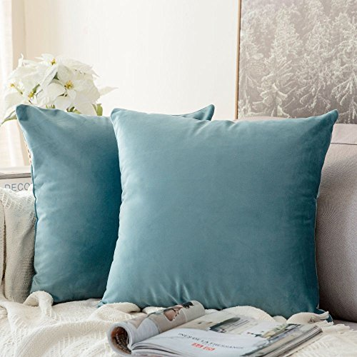 MIULEE Velvet Soft Soild Microfiber Decorative Square Pillow Case Throw Cushion Cover for Sofa Bedroom with Invisible Zipper 16x16 Inch 40x40cm Light Green Set of 2 Lined