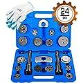 OrionMotorTech 24-Piece Disc Brake Caliper Tool Kit, Front and Rear Brake Piston Compression Tool, Professional Automotive Mechanic Tool Set