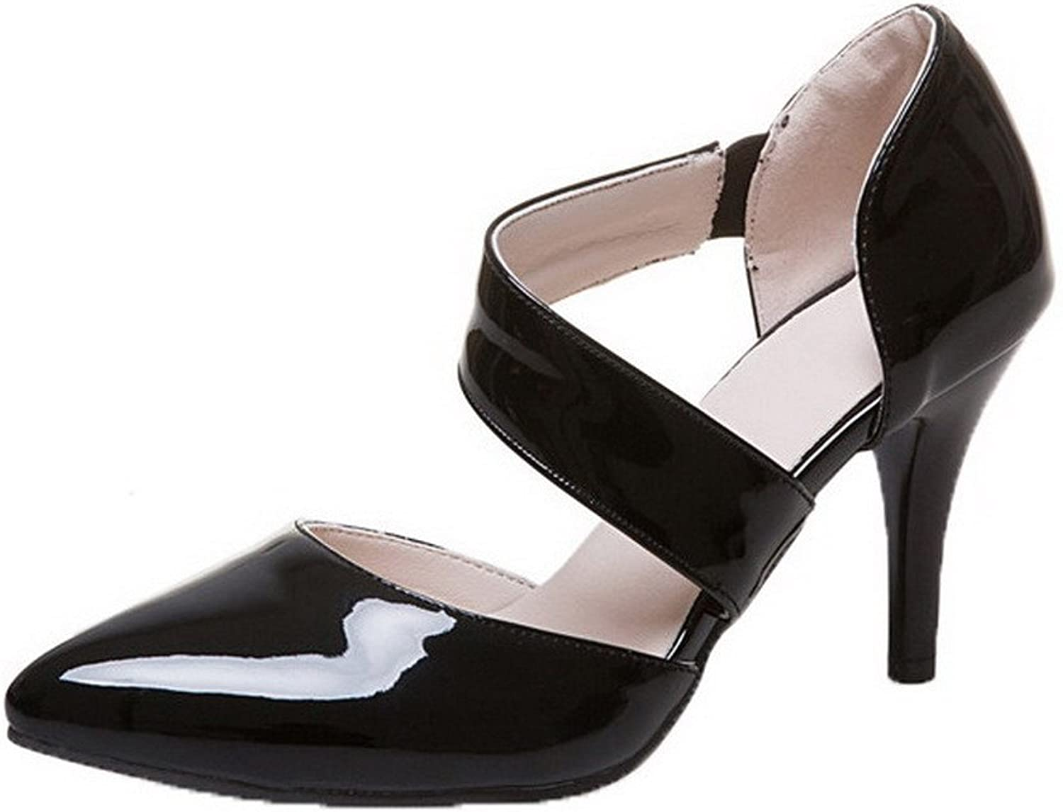 WeenFashion Women's High-Heels Patent Leather Solid Elastic Closed-Toe Sandals