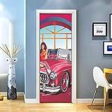 KEXIU 3D Mujer Rosa PVC fotografía adhesivo vinilo puerta pegatina cocina baño decoración mural 77x200cm