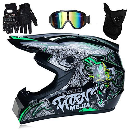 NANUNU Profi-Motocross-Helm Motocross-Dirt Bike Off-Road Motorradhelm-Set Full Face MTB-Helm mit Brille Handschuhe Gesicht Cover,Multiple Größen