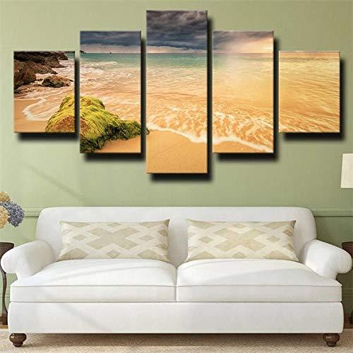 IJNHY 5 Piezas Cuadro sobre Lienzo De Fotos Atardecer Oscuro Playa Dorado Lienzo Impresión Cuadros Decoracion Salon 150×80Cm Cuadros para Dormitorios Modernos Mural Pared Listo Colgar