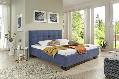 Breckle Polsterbett, Bett 120 x 200 cm Andrus Bavaria 38 cm Höhe Stärke 6 cm Bündig Textil blau