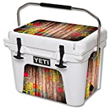 MightySkins (Cooler Not Included) Skin Compatible with YETI Roadie 20 qt Cooler wrap Cover Sticker Skins Wood You