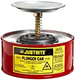 Justrite 1 Quart Red Galvanized Steel Safety Plunger Can with 5' Dasher Plate and BrassRyton Plunger Assembly (for Flammables)