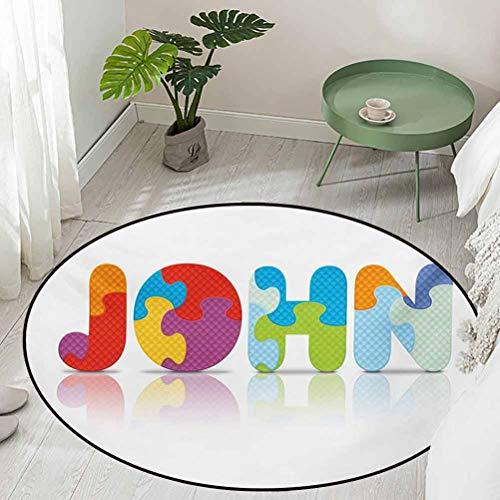Round Bathroom Rug Kitchen Carpet Ancestral Children Name with Medieval Origins Nursery Themed Puzzle Preschool Design Diameter 66 inch Best Floor mats