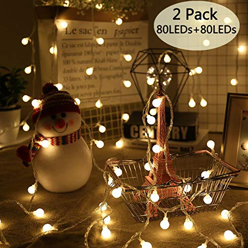 POP Mart Globe String Lights 2 Pack 80 LEDs 34 Ft Christmas...