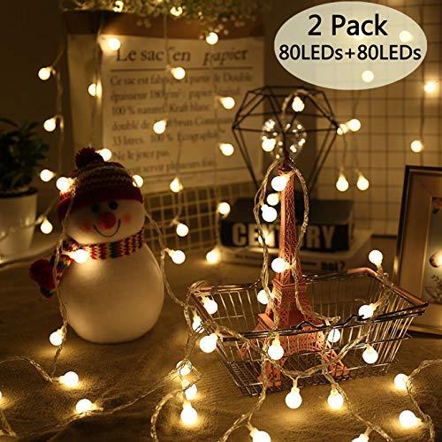 POP Mart Globe String Lights 2 Pack 80 LEDs 34 Ft Christmas...