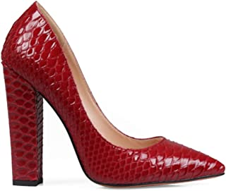Women's Chunky Block High Heels Pumps Closed Pointed Toe Classic Dress Office Shoes for Women