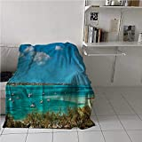 Bed Blanket Sailboat Air Conditioner Blanket Anchored Boats in Sea Suitable for Fall Winter and Spring 54x72 Inch