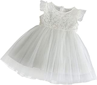 zhxinashu Newborn Infant Girls Christening Gowns Birthday Skirt Full Moon Wedding Dress