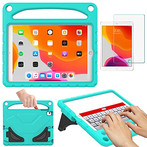 RTOBX Kids Case for iPad 10.2 2019 2020-7th/8th Generation, Durable Shockproof Lightweight Handle Stand Protective Cover with Screen Protector for 10.2 inch iPad 8/7 Gen,Teal