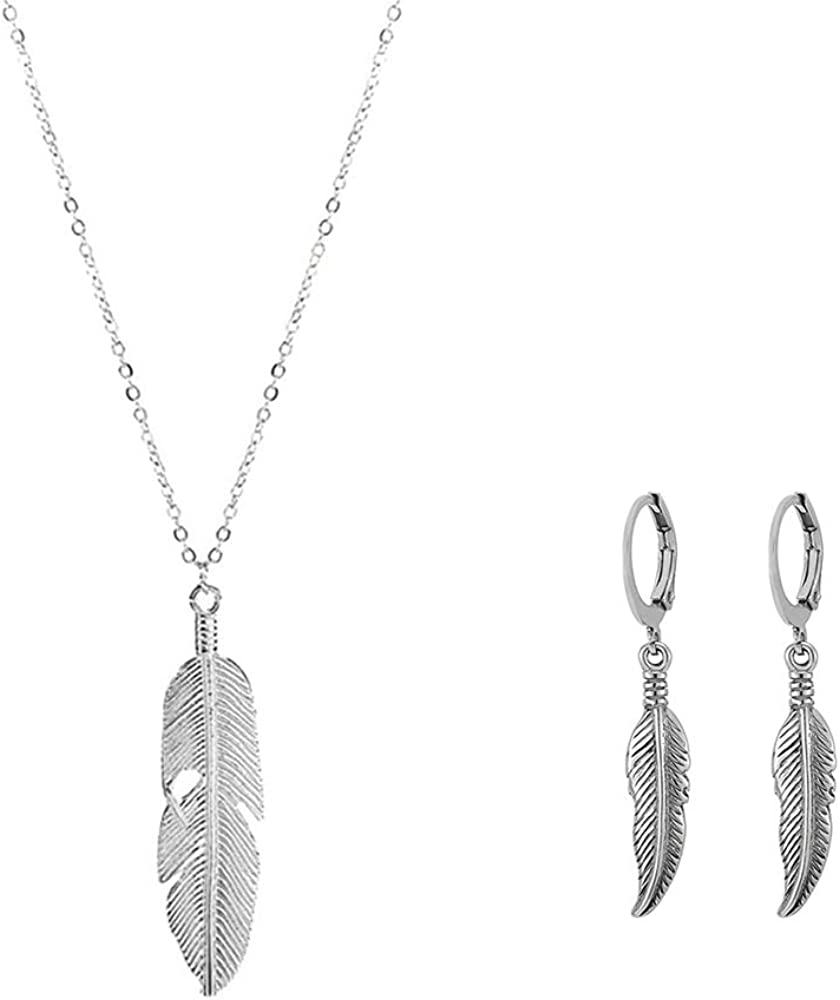 2 Sets Boho Feather Pendant Necklace Earcuff Stainless Steel Hinged Hoop Earrings with Leaf Earrings Sweater Chain Long Leaf Necklaces Jewelry for Women and Girls