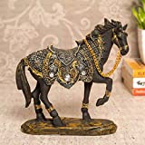 Package Contains :- 1 Horse Figurine Size & Material :- Size : 15 cm X 18 cm | Material : Resin. These uniquely hand crafted and painted showpiece make an excellent complement to any home/office décor. Can be placed on a table, dining table décor, co...