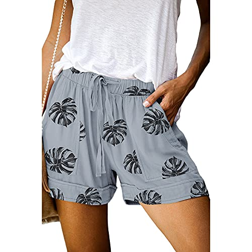 Fainash Pantalones Cortos Estampados para Mujer Moda de Cintura Alta Color de Contraste Tendencia Streetwear Pantalones Cortos Rectos básicos Casuales con cordón XL