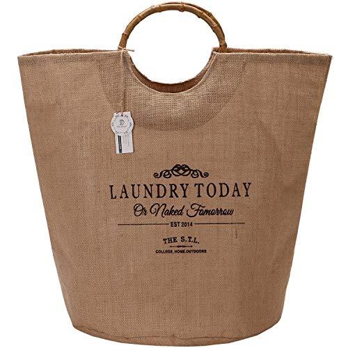YZHM Tabla de lavandería del Marino, 18 por 15 Pulgadas de Lona Plegable de Lona de Lona de lavandería Cesta de la Bolsa de Asas con Asas de bambú, Revestimiento Impermeable, Flaxen