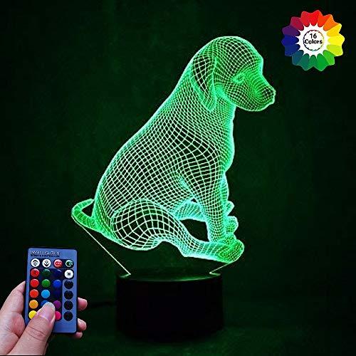 HPBN8 Ltd 3D Hund Lampe USB Power Fernbedienung 7/16 Farben Amazing Optical Illusion 3D LED Lampe Formen Kinder Schlafzimmer Nacht Licht