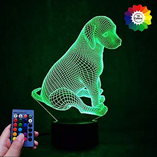 3D Hund Lampe USB Power Fernbedienung 7/16 Farben Amazing Optical Illusion 3D LED Lampe Formen Kinder Schlafzimmer Nacht Licht