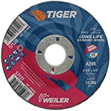 Weiler 57121 Tiger 4-1/2' Grinding Wheel, Type 27, 1/4' Thick, A24R, 7/8' A.H. (Pack of 10)