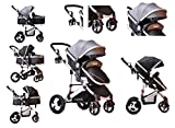 TomiKid Grey Travel System 3 in 1 Combi Stroller Buggy with car seat Baby Child Pushchair Reverse or Forward Facing Rain Cover Bottle Holder Foldable Free Replacement Parts
