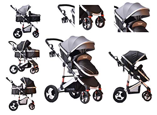 TomiKid Grey Travel System 3 in 1 Combi Stroller Buggy with car seat Baby Child Pushchair Reverse or...