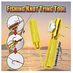 Fishing Line Hook Fishing Knot Tying Tool Tie Fast, Metal Fishing Detacher Knotting Tool Remove Tool Fish Hooker Tie Hook Hook Remover Fishing Tackle (Gold 3pcs)