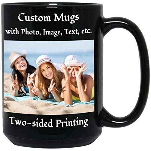 Custom Photo Coffee Mug 15 OZ Personalized Black Cup with Picture Text Name Taza Personalizadas Customized Family Friend Mug Gift for Birthday Anniversary Thanksgiving Halloween Christmas Holiday