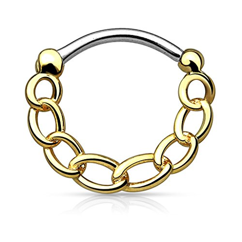 Gekko Body Jewellery Gold Plated Chain Style Round Septum Clicker Nose Ring...