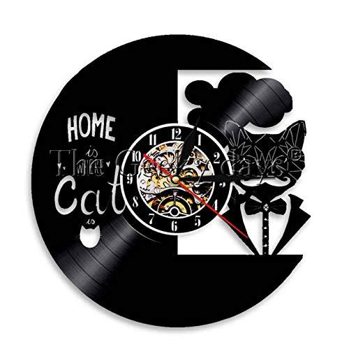 ZZLLL ¿Dónde está el hogar del Gato? Reloj de Pared con Disco de Vinilo Reloj de Gato Negro Reloj de Animal Vintage Regalo de inauguración de la casa para el Amante de los Gatos-Sin LED