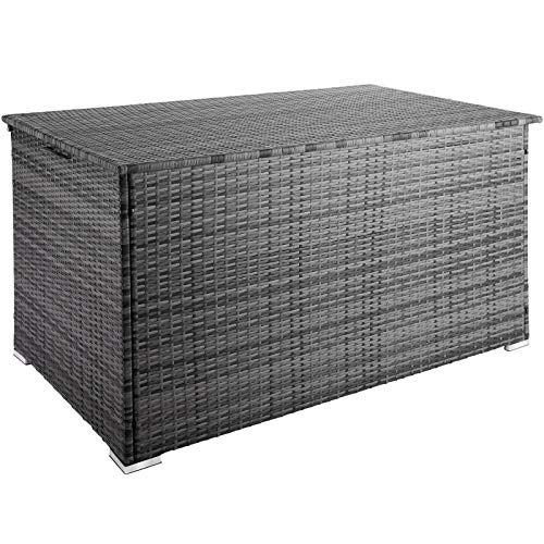 ADHW 750L Polyrattan Auflagenbox Alu Aufbewahrungsbox Kissenbox Gartenbox Gartentruhe (Color : Grau | Nr. 403276)