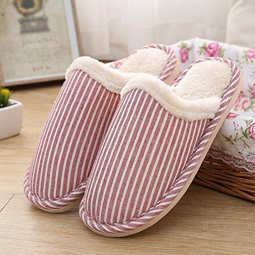 B/H Zapatillas mullidas de Interior de Invierno,Zapatillas de algodón para el hogar cálidas y cómodas, Zapatillas Sencillas y Modernas-Rose Red_38-39