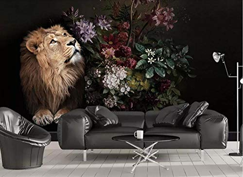 ZDBWJJ 3D negro flor león papel pintado lirio flor pared mula personalizado foto papel pintado sala rollo-400cmx280cm