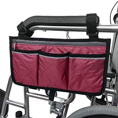 Primst Multifunktionale Bürostuhl Aufbewahrungstasche Rollstuhl Seitlich hängende Aufbewahrungstasche Armlehnen Beutel Organizer (Wind red)