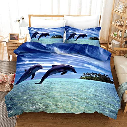 MRSTOT - Juego de cama para niños y adultos, diseño de delfín azul con motivos 3D y estampado de delfín azul con fundas de edredón y fundas de almohada (220 x 240 cm)