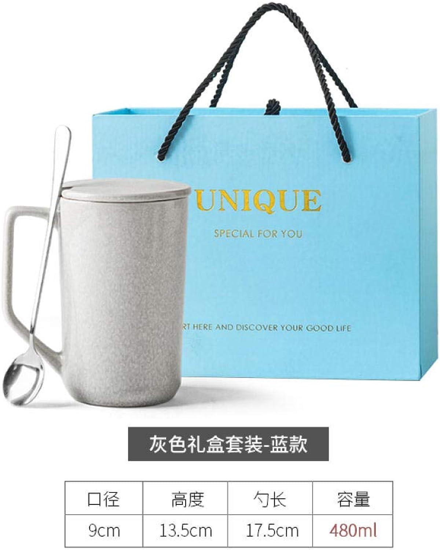 MK MUG Tasse en Céramique Faite Main avec Couvercle Cuillère Grande Capacité Tasse à Café Tasse à Lait - Costume gris + Boîte-Cadeau Bleue