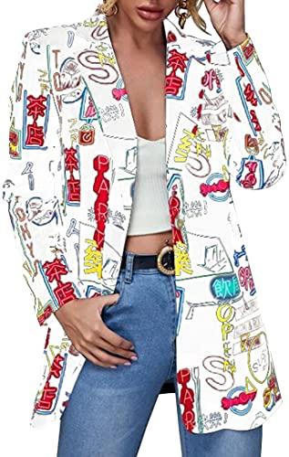 FLYCHEN Chaquetas de Traje y Blazers para Mujer OL Office Lady Chaqueta Floral Coat Casual de Moda Casual Blazers, Blanco Letra, S