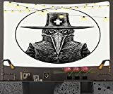 Angry Bird Tapestry,Plague Doctor Graphic White Pencil Tattoo Venice,Hanging Wall Tapestry Home Decorations for Living Room Bedroom Dorm Decor - 60'x80'