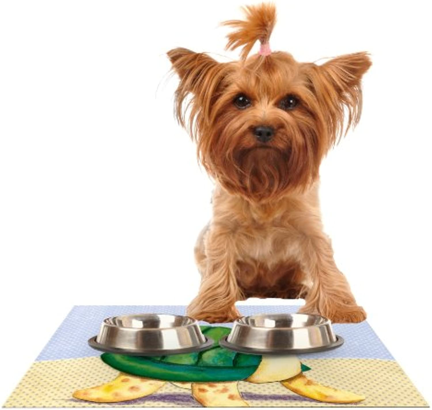 Kess InHouse Padgett Mason Slow and Steady  Feeding Mat for Pet Bowl, 18 by 13Inch